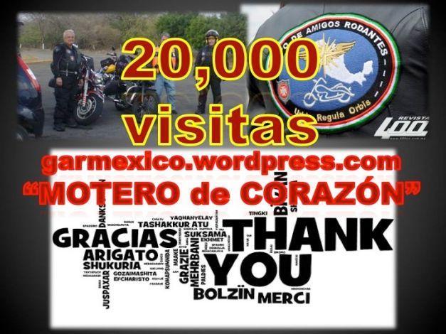 20,000 visitas al sitio del Motero de Corazón.