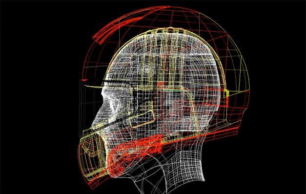 Digitalización de cabeza y casco.